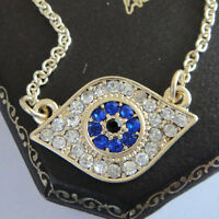 1PC Gold Plated Blue & Clear Rhinestone Evil Eye Necklace Fashion Jewellery 48cm