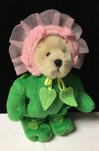 "Ganz Wee Bear LI'L BLOSSOM Plush 5""Miniature Teddy Bear Rose Flower Vintage F4"