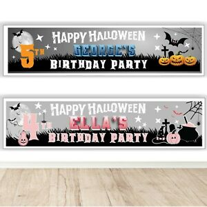 Halloween Personalised Birthday Banner - Children's Halloween Party Banner