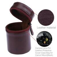 DSLR Camera Lens Soft PU Leather Protective Cover Case Bag for Canon Nikon Sony