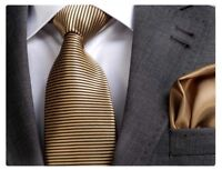 GOLD/BLACK STRIPE SILK TIE (& HANKY) - ITALIAN DESIGNER Milano Exclusive