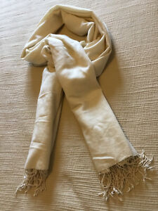 Morgan and Oates Cream Cashmere and Silk Wrap/ Scarf