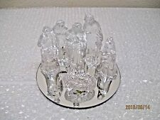 VINTAGE NATIVITY SET SEVEN PIECES GLASS W/ MIRROR TRAY 1988 CBK LTD