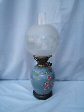 Oil lamp vintage Messenger's no.2 key lift  ceramic base clear globe shade  OL34