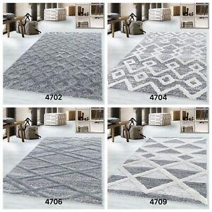 MODERN PISA 3D GEOMETRIC DESIGNS QUALITY SOFT GREY RUG IN VARIOUS SIZES CARPET