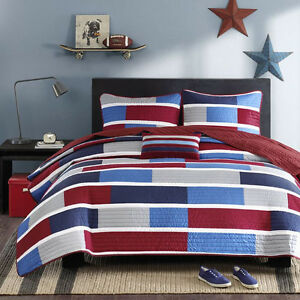 NEW! ~ COZY BEAUTIFUL SPORTY RED BLUE NAVY WHITE GREY STRIPE BOYS SOFT QUILT SET