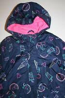 New Oshkosh Girls Navy Blue Unicorn Ice Cream Donuts Print Raincoat 4 5 6 6X NWT