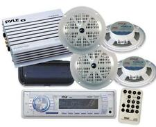 Pyle New PLMR18 In Dash Marine Boat MP3 USB AUX AM FM Radio 4-Speakers Amp Cover