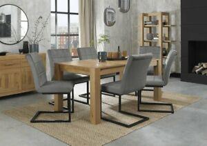 Blake Light Oak 6-8 Seater Dining Table & 6 Lewis Grey Velvet Cantilever Chairs