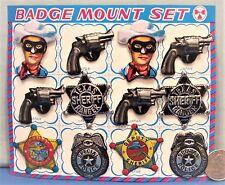 Lone Ranger ~ Western ~ Embossed Tin Badge Set ~ 1960's Japan Store Display Card