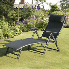 Black Textilene Patio Chaise Lounger Chair Outdoor Home Seating Furniture Pool