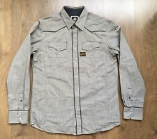 G-STAR RAW SIZE L MENS MIDNIGHT SHIRT STRIPED WITH PEARL SNAPS WESTERN STYLE