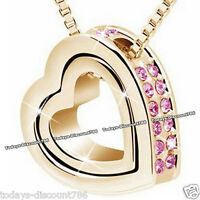 Pink Crystal Heart Pendent Necklace Love Xmas Gift For Her Wife Mum Sister Women