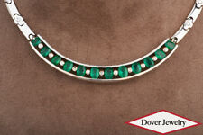 Estate Diamond 11.43ct Green Emerald 14K Gold Choker Link Necklace 51.8 Grams NR