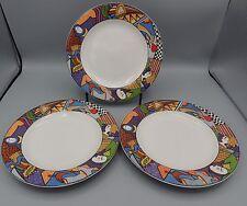 3 Vitromaster Metropolitan Salad Plates Art Deco Retired 1991