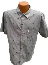 Walker St Refinery Men's Button Up Shirt X-Large Short Sleeve Gray Buck Deer