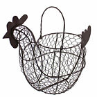 Rural365 Chicken Egg Holder - Brown Decorative Wire Basket with Handle for Eggs