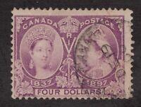 Sc64 - Canada - $4 - 1897 Diamond Jubilee - Used - superfleas - cv $1100