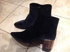 BNWT M&S Black Velvet Ankle Boots Gold Glittery Heel size UK 5.5 EUR 39 VEGAN