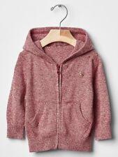 GAP Baby Boys Size 6-12 Months Red Marled Zip Hoodie Sweater Cardigan Jacket