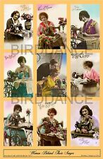 """Sewing Quilting Fabric Room SINGER TRADE CARD COLLAGE """"WOMEN BEHIND THEIR SINGER"""