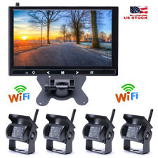 """9"""" Monitor + 4 X Wireless Rear View Backup Night Vision Camera For Rv Truck Bus"""