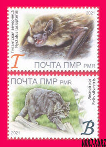 TRANSNISTRIA 2021 Nature Fauna Animals Mammals Bat & Wild Forest Cat 2v MNH
