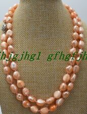 Pink Baroque Pearl Necklace Genuine Pearl Sweater Chain Women Necklace 36''