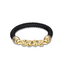 NWT Polo Ralph Lauren Mens Black Leather Braided Wrist Strap Bracelet