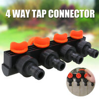 4 Way Tap Adapter Shut Off Manifold Garden Water Hose Pipe Quick Connector