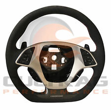 2014-2018 Corvette D Shaped Steering Wheel Automatic Suede Torch Red Stitching