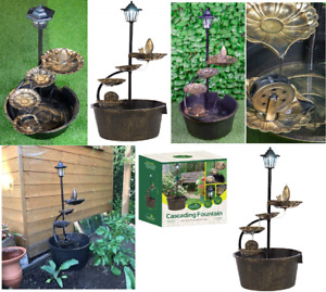 GARDENCRAFT 1 TIER COPPER EFFECT CASCADING BARREL FOUNTAIN 4 LOTUS LEAVES WATER