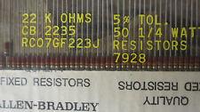 50 Allen Bradley Carbon Comp Resistors  22k ohms  1/4 watt  5%