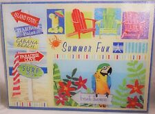 Glass Cutting Board SUMMER FUN Patchwork of Summer Scenes