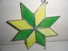"""STAINED GLASS SUN CATCHER-GREEN & YELLOW STAR-7""""x7"""""""