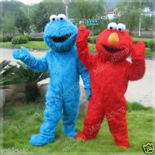 NEW SESAME STREET ELMO AND COOKIE MONSTER ADULT MASCOT CARTOON COSTUME GIFT