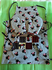 Children's MINNIE & MICKEY MOUSE Oven Mitts & Apron, Handmade, Lined,100% Cotton