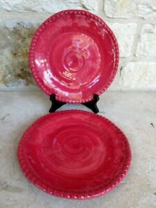 NWT Pier 1 Set of 2 Rope Melamine Salad/Accent Plates Red Swirl Crackle Tropical