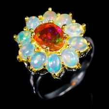 Classic AAA Art Natural Orange Opal 925 Sterling Silver Ring Size 8.75/R97497