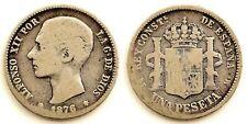 Spain-Alfonso XII. 1 Peseta. 1876. Madrid.. Plata 4,7 g. Escasa