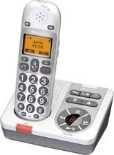 AUDIOLINE BigTel 280 schurloses Großtasten Telefon weiß/grau mit Anrufbeantworte