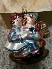 Polonaise Kurt S. Adler Raggedy Ann & Andy on Rocking Horse Glass Ornament 5.5""