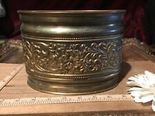 """Oval Brass Planter Weighted Base Pot Floral Design 6 3/4""""x5"""""""