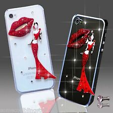 NEW DELUX LUXURY BLING GIRL RED LIPS DIAMANTE CASE IPHONE SAMSUNG SONY HTC PHONE