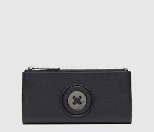 MIMCO Black Wallet MIM Mazing Long Fold BNWT Gunmetal Hardware Dust Bag RRP$179