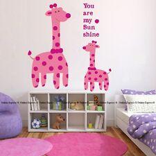 Giraffe Nursery Wall Zoo Animal Stickers Decal Girl Baby Quote Sunshine Bedroom