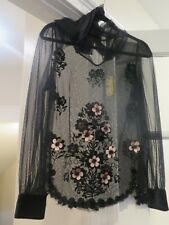 Red Valentino Tulle Velvet Sheer Shirt Floral Black Flowers Long Sleeve 6 Small