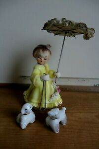 Lipper & Mann Creations Girl with dogs & parasol Delightful 1940s Kitsch Cute
