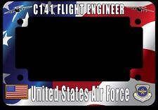 C-141 Starlifter Flight Engineer Flag Motorcycle License Plate Frame