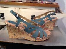 Born On Concept Women's Strappy Blue Wedge Heel Sandal Shoes 43/US/11 M-EUC